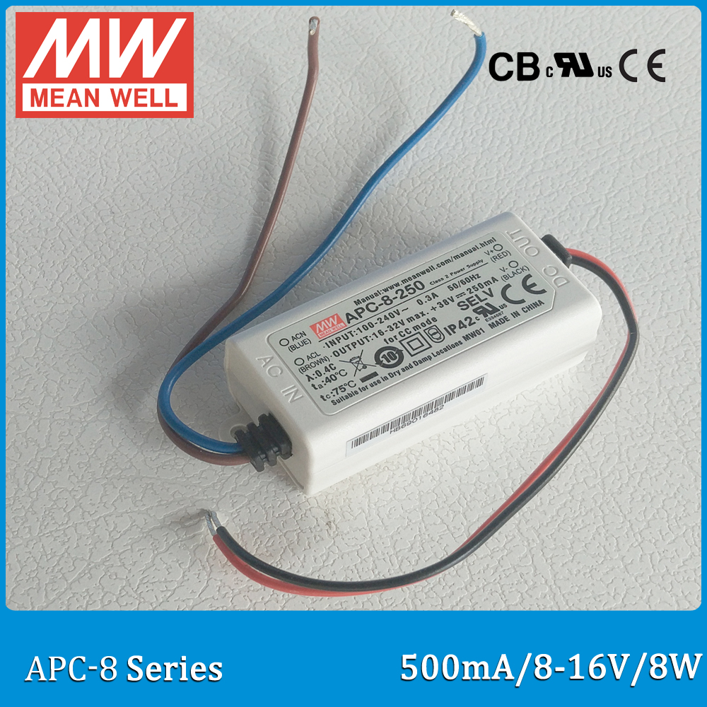 Original MEAN WELL APC-8-500 Led driver 8W 8-16V 500mA constant current power supply Meanwell APC-8 for LED light 90w led driver dc40v 2 7a high power led driver for flood light street light ip65 constant current drive power supply