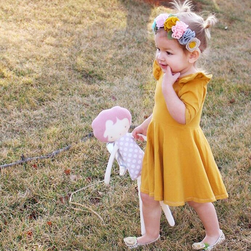 2-5T Autumn / Spring Girl Dress Solid Color Yellow Long Sleeve Children's Dress Girl New Retro Toddler Girl Clothes мужские ботинки spring autumn hightop size38 45 2