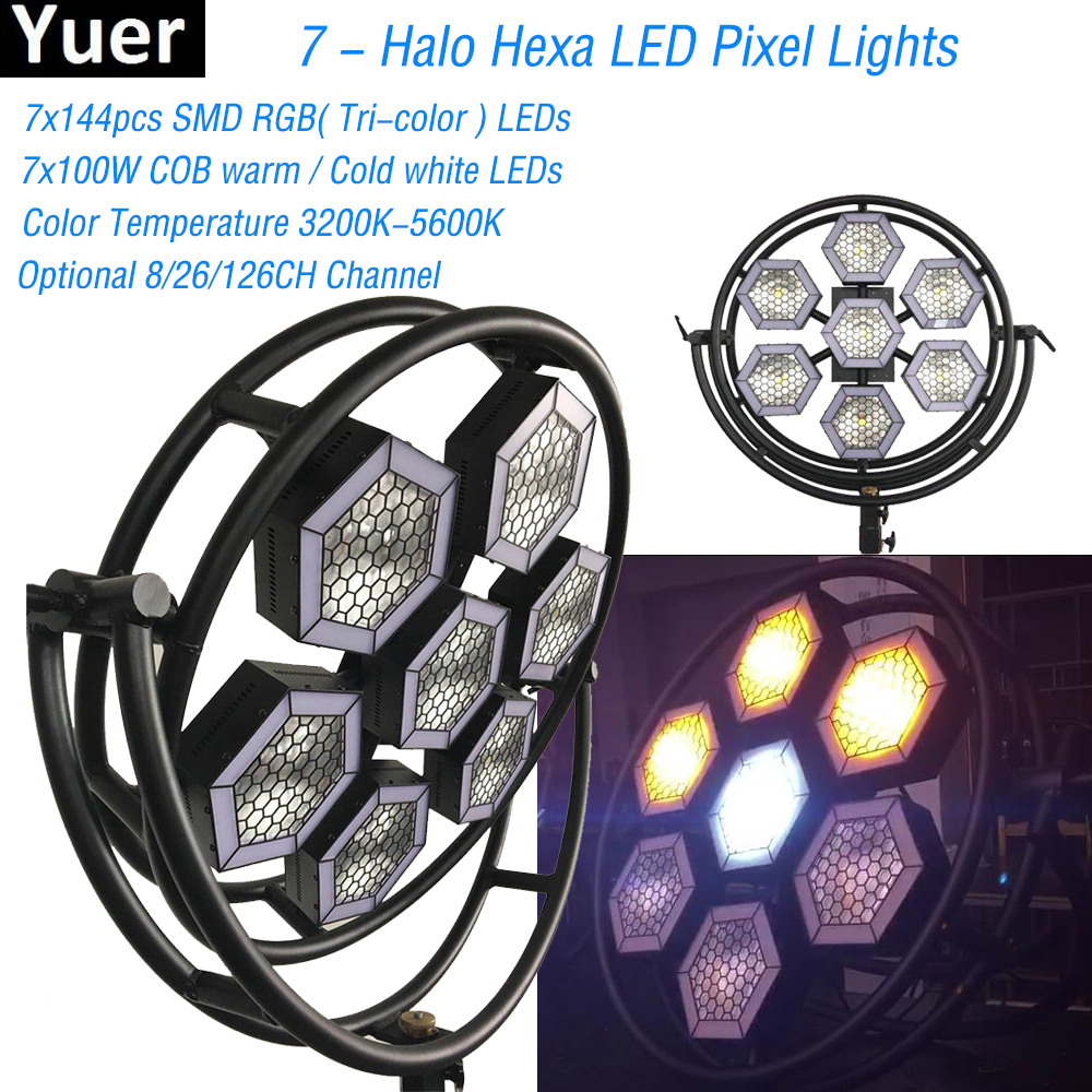 1000W LED Retro Flash Light Stage Effect Lighting DJ Party Show Strobe Disco Light 7-Halo Hexa LED Pixel Light Club Bar image