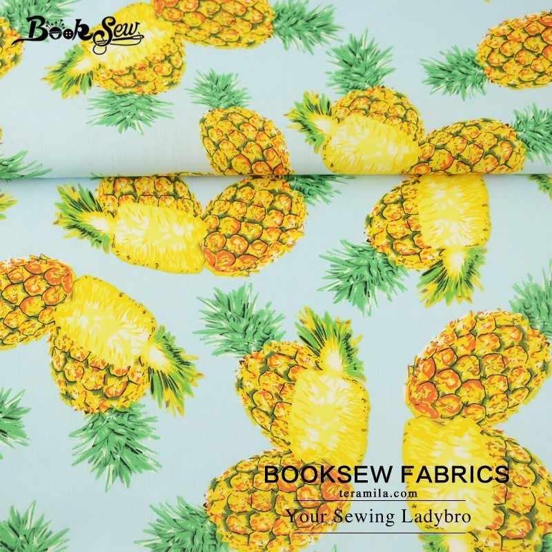 Booksew 100% Cotton Poplin Fabric Pineapple Fruit Design Fat Quarter Quilting Cloth For Shirt Craft Dress Scrapbooking Patchwork