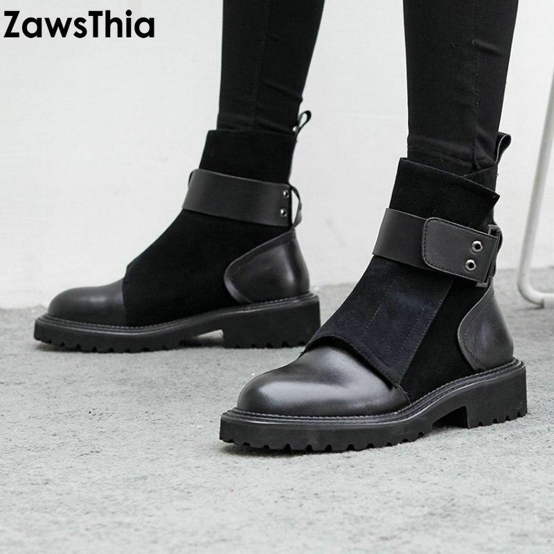 Ayakk.'ten Ayak Bileği Çizmeler'de ZawsThia Lüks Marka Tasarımcısı Hakiki Deri Süet Punk Martin Çizmeler Toka Kadın Çizme Platformu Ordu Ayakkabı Kadın yarım çizmeler'da  Grup 1