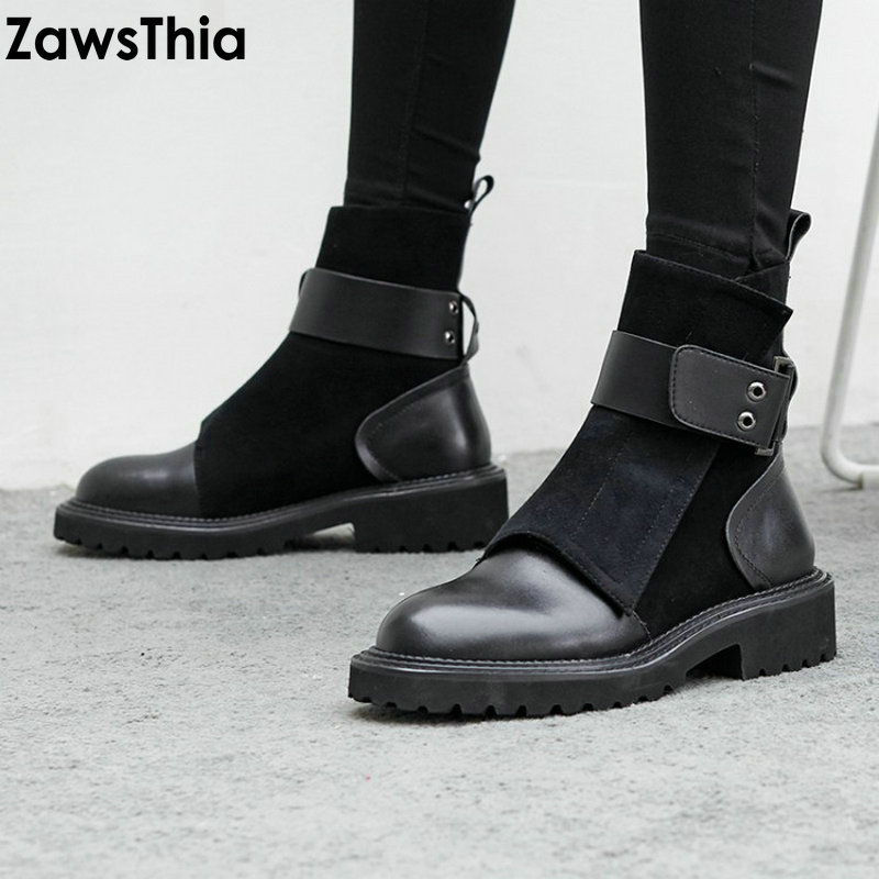ZawsThia Luxury Brand Designer Genuine Leather Suede Punk Martin Boots Buckle Female Boot Platform Army Shoes Woman Ankle Boots
