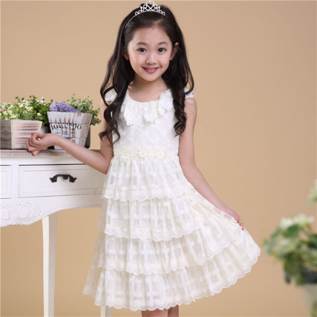66e816530ff5 Girls summer dress 5-12 years kids cute white lace flowers layered wedding party  princess dresses child high quality clothes 520