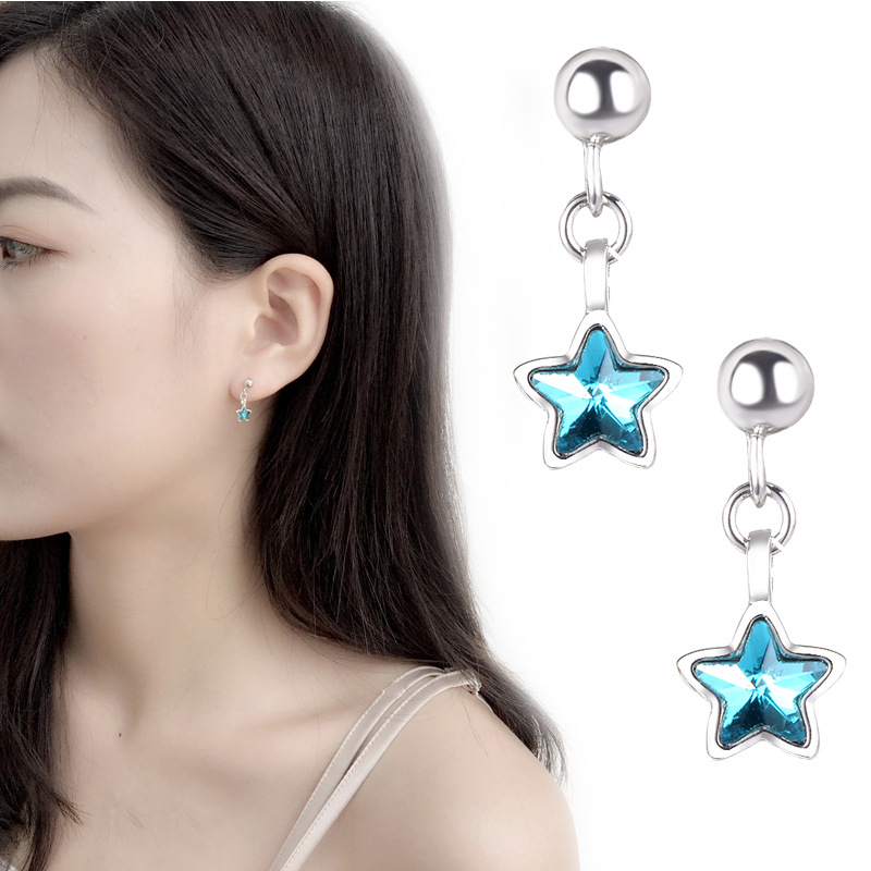 925 Sterling Silver Blue Crystal Star Stud Earrings For Women Girl Wedding Jewelry Brincos pendientes Dropshipping EH376