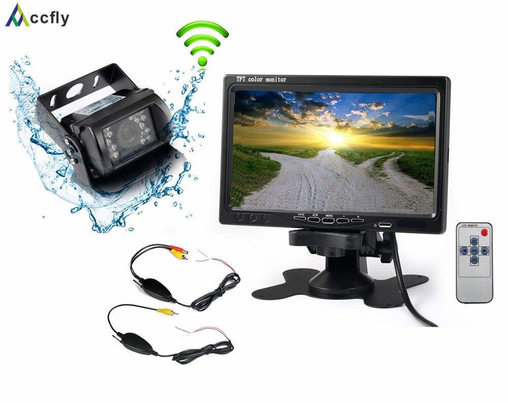 Accfly 12V 24V car reverse reversing rear view camera Wireless with Monitor for trucks bus excavator Caravan van Trailer
