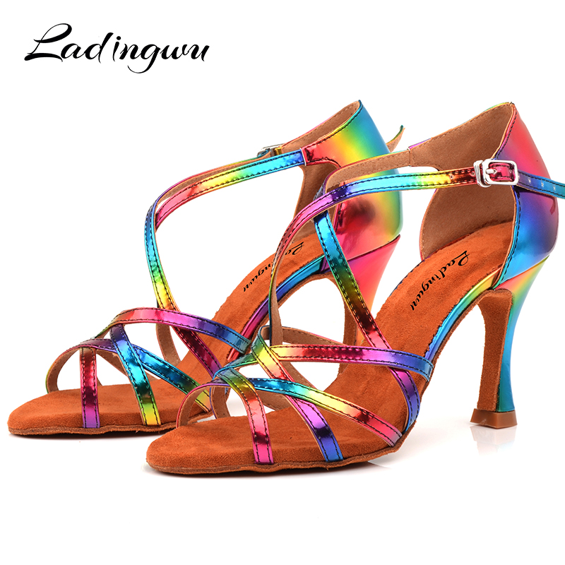 Ladingwu Fashion Latin Dance Shoes Rainbow Color PU Women Salsa Shoes Dance Sandals Unique Design Latex Soft Bottom Size 33-44