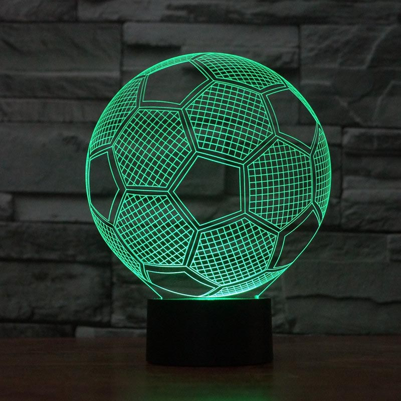Football 3D colorful lights, gradual LED illusion light, visual stereo 3D give children the best gift