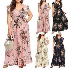 Womens maxi dress Fashion Plus Size Summer V Neck Floral Print Boho Sleeveless Party long Maxi Dress 2109 floral long sleeves v neckline womens maxi dress