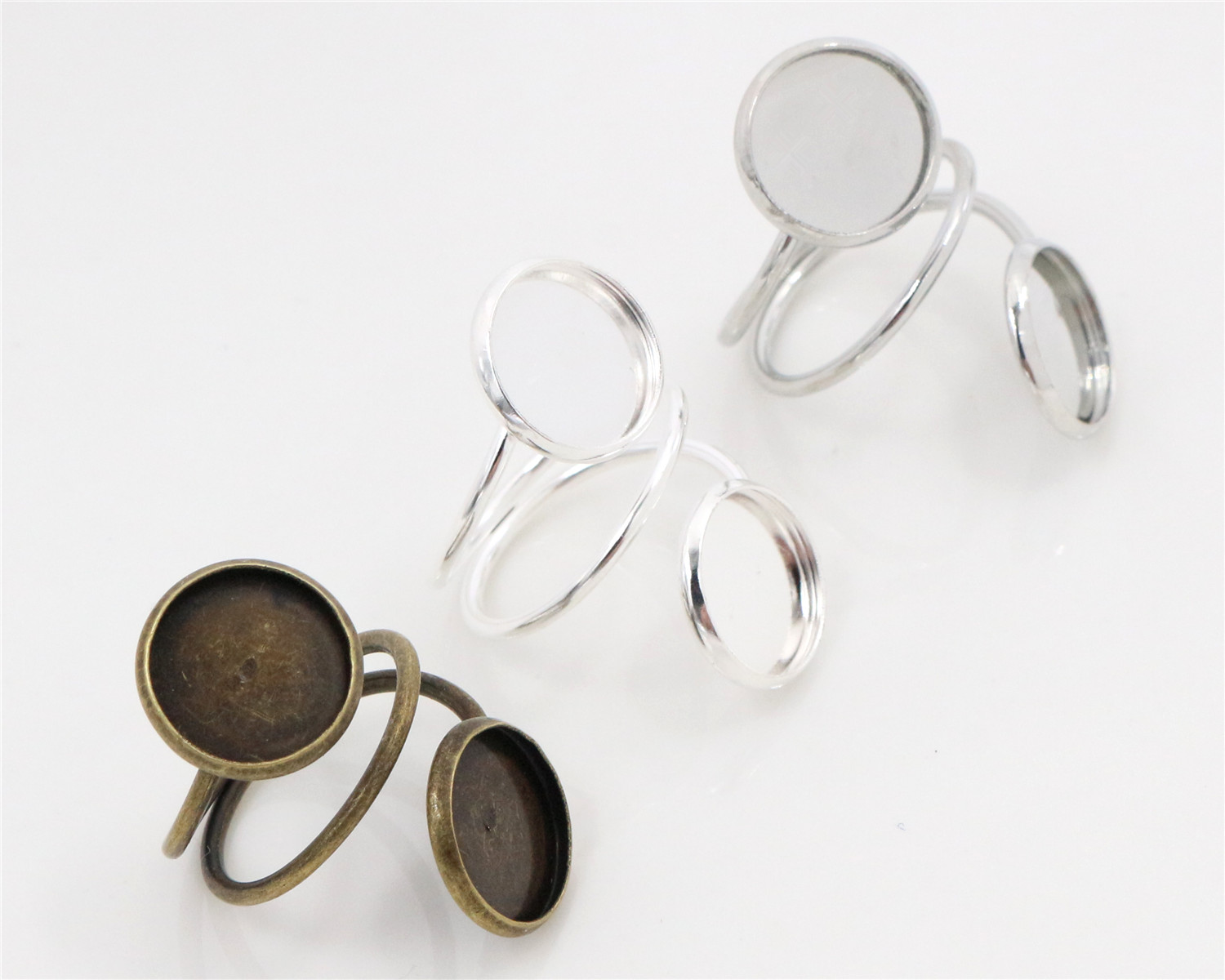 12mm 5pcs 3 Colors Plated Brass Adjustable Ring Settings Blank/Base,Fit 12mm Glass Cabochons,Buttons;Ring Bezels