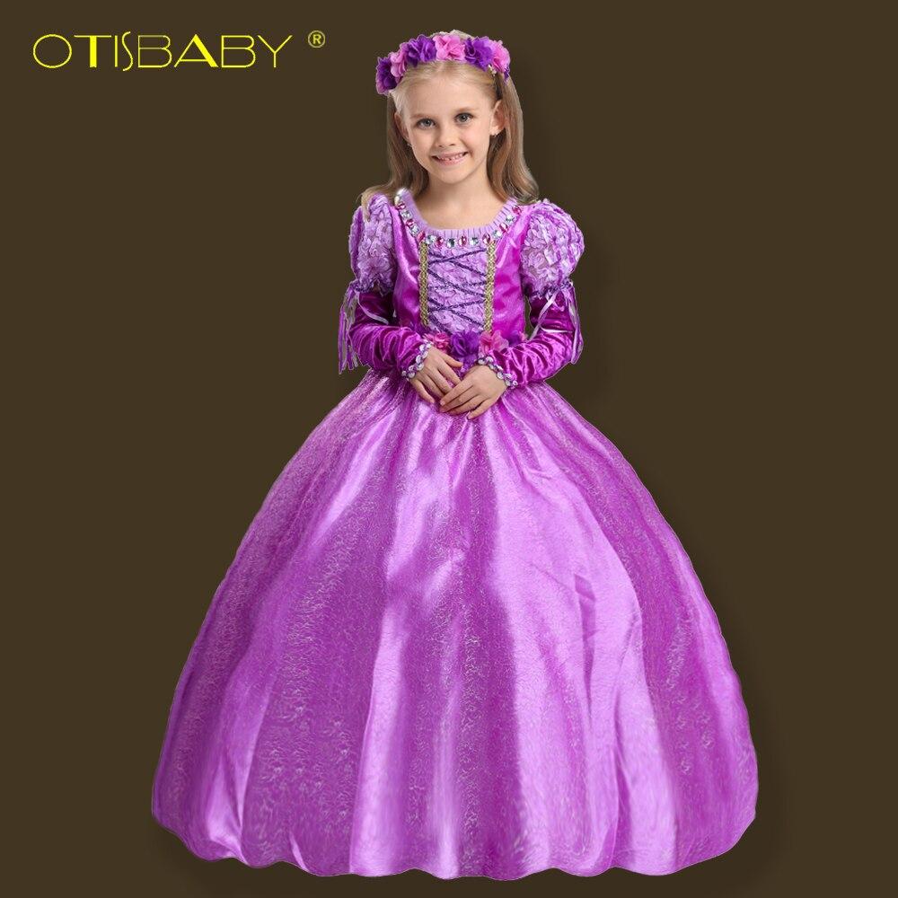 Vestido de princesa de Rapunzel de Navidad de lujo para niñas vestido de fiesta de Sofia para niñas bebé invierno Aurora Vestido largo de tobillo para niños
