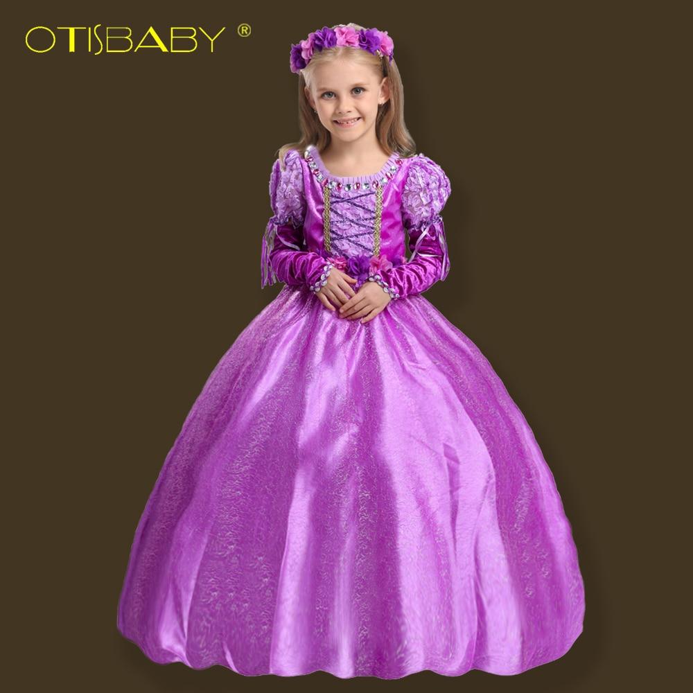 Weihnachten Phantasie Mädchen Rapunzel Prinzessin Kleid Kinder Sofia Partei Mädchen Kleid Baby Winter Aurora kinder Kostüm knöchel Lang Kleid