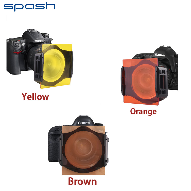 Spash Solid Color Lens Filter Orange Yellow Brown Color Camera Square Lens Filter Kit for Cokin P series with Microfiber Cloth