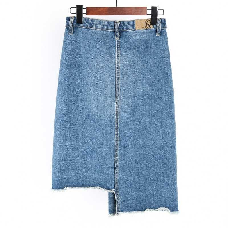071fc662d ... New 2019 Fashion Summer Women Sexy Denim Skirts High Waist Front  Single-breasted Vintage Girls ...
