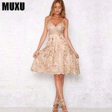 MUXU summer New Embroidery Lace suspender dress Hollow Out backless gold vestidos jurken mesh sundress fashionable dresses