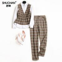 SHUCHAN 2017 Women S Suits Autumn New Elegant Womens 3 Piece Pant Suit White Women S