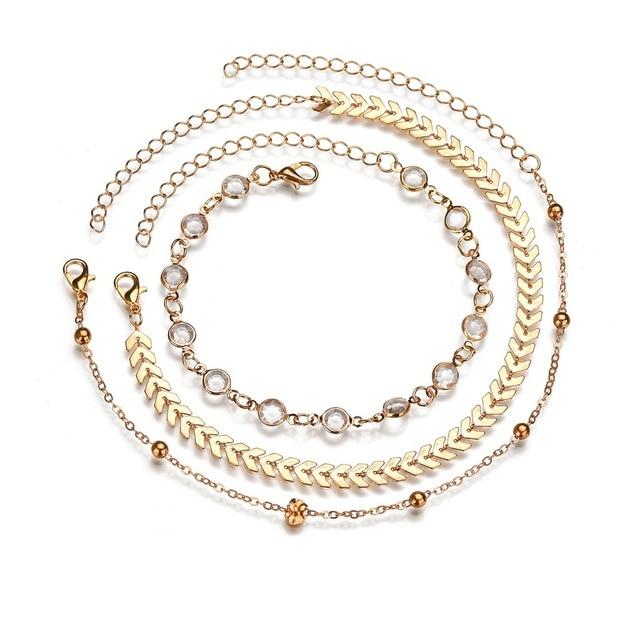 MissCyCy Fashion Crystal Anklet Set Vintage Handmade Ankle Bracelet for Women Party Summer Beach Accessories 3Pcs/Set 1