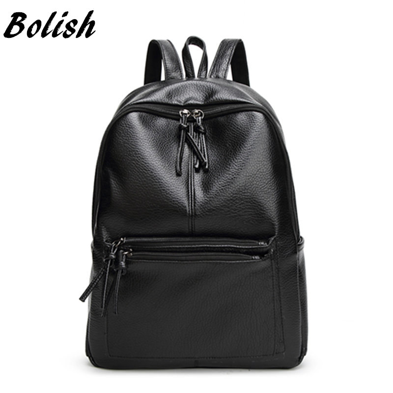 Bolish New Travel Backpack Korean Women Female Rucksack Leisure Student School bag Soft PU Leather Women Bag 2017 new korean man pu leather backpack male new style junior middle school students leisure travel backpack fashion bag