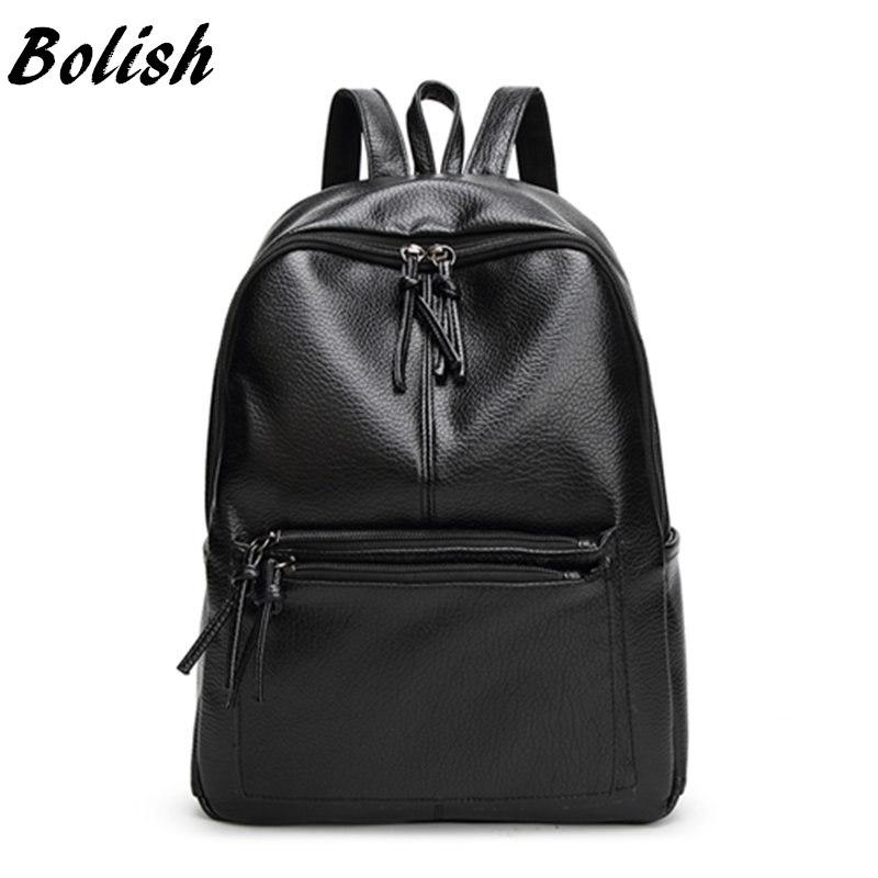 Prix pour Bolish nouveau voyage sac à dos femmes coréennes sac à dos loisirs étudiant cartable doux pu cuir femmes sac