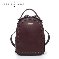 JESSIE JANE 2016 New Style Rivet Backpack 1484 Fashion Ladies Leather School Bag