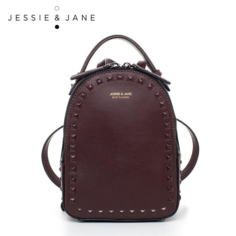 JESSIE & JANE Women's Fashion Rivet Design Split Leather Backpack Women Casual Daypacks 1825 fashion design women backpack leather star rivet black female youth satchel