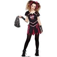 Teen Gothic Cheerleader Costume Undead Zombie Cheerleader Halloween Costume School Girls U Spirit University Cheerleader Costume