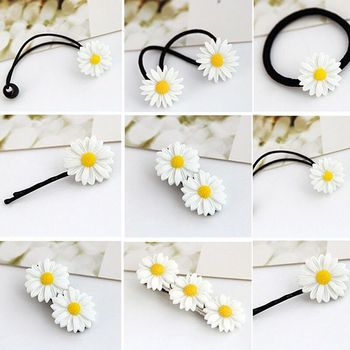 2PCS Cute Daisy Flower Hair Clip Fashion Elastic Hair Ring Rope Bands HairPins Ponytail