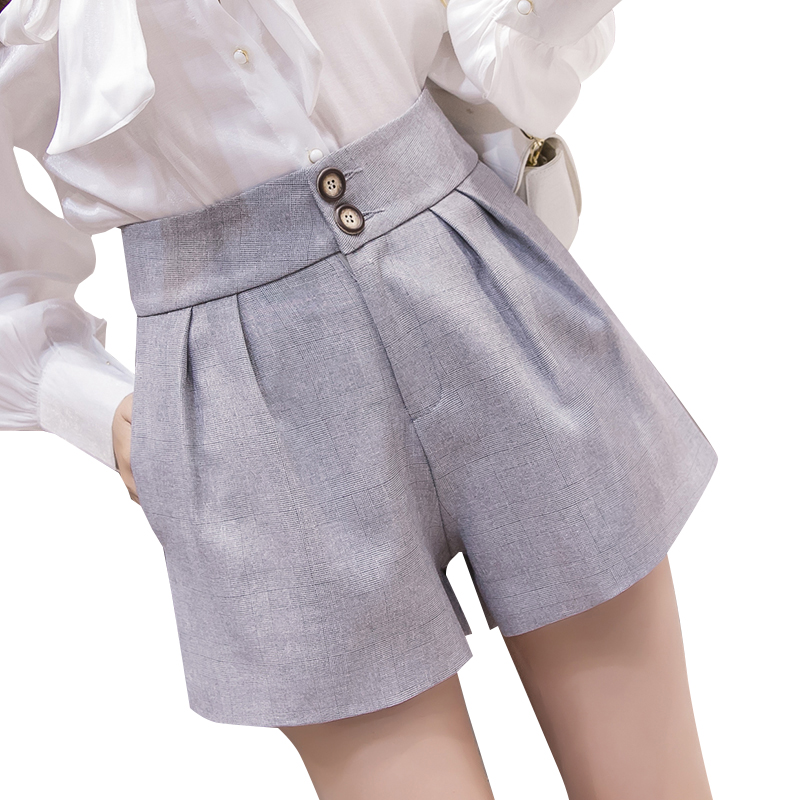 2019 Spring Summer New Women Shorts Female Fashion High Waist Wide Leg Short Pants Black/Khaki/Gray Casual Shorts