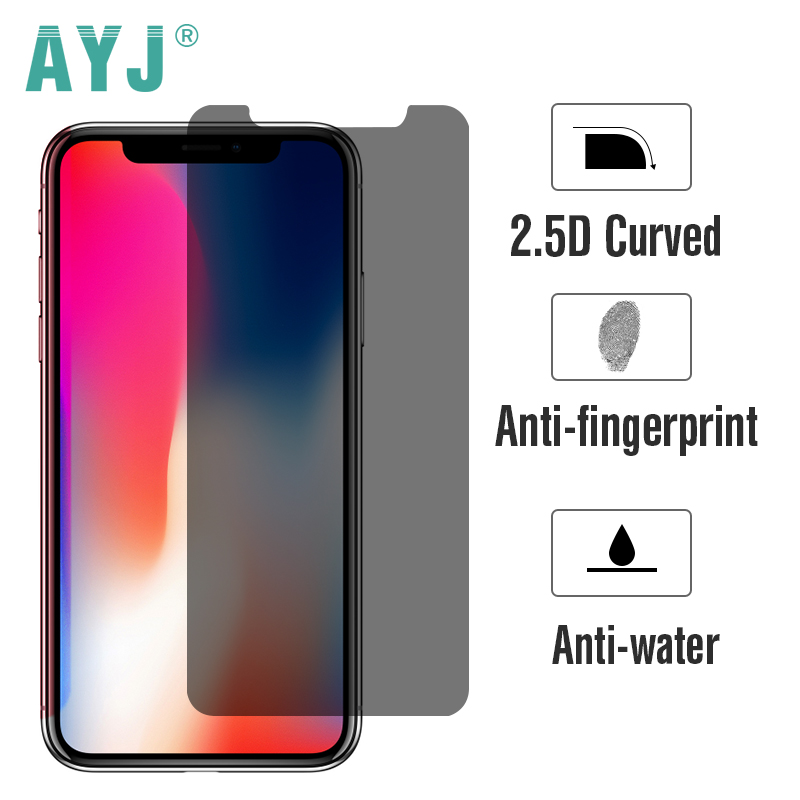 AYJ Privacy Tempered Glass for iphone X Screen Protector Film High Transmittance Anti-peeping with Universal Pasting Tools Free