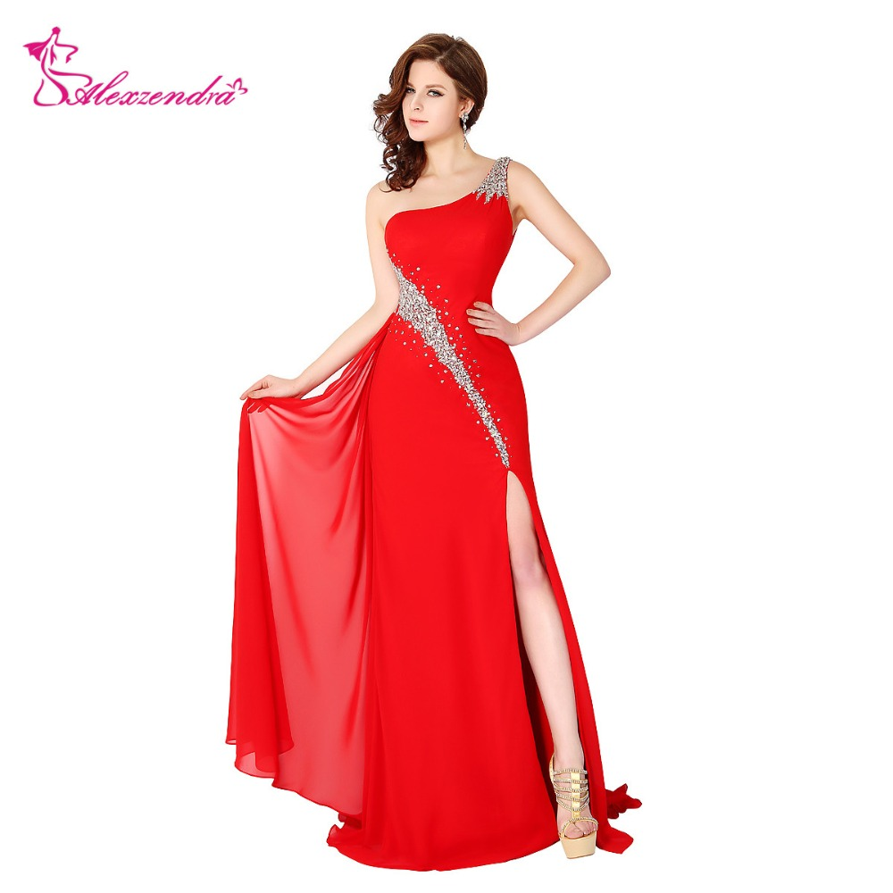 Alexzendra Red Beaded Crystals One Shoulder Chiffon Prom Dresses ...