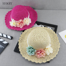 SUOGRY 2018 NEW Girls Summer Straw Hats For Children Baby Sun Hat With Flowers Kids Big Brim Bonnet