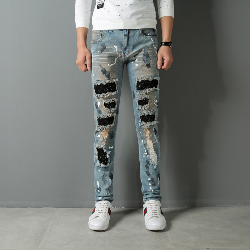 High Street Fashion Men Jeans Punk Style Slim Fit Stretch Hip Hop Destroyed Ripped Jeans Homme Balplein Brand Biker Jeans Men high quality mens jeans ripped colorful printed demin pants slim fit straight casual classic hip hop trousers ripped streetwear