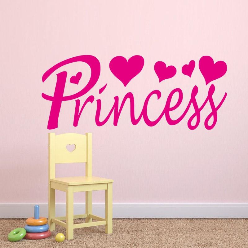 Princess Vinyl Decal Wall Sticker Words Lettering Nursery: Love Hearts With Princess Vinyl Wall Sticker Spanish Word