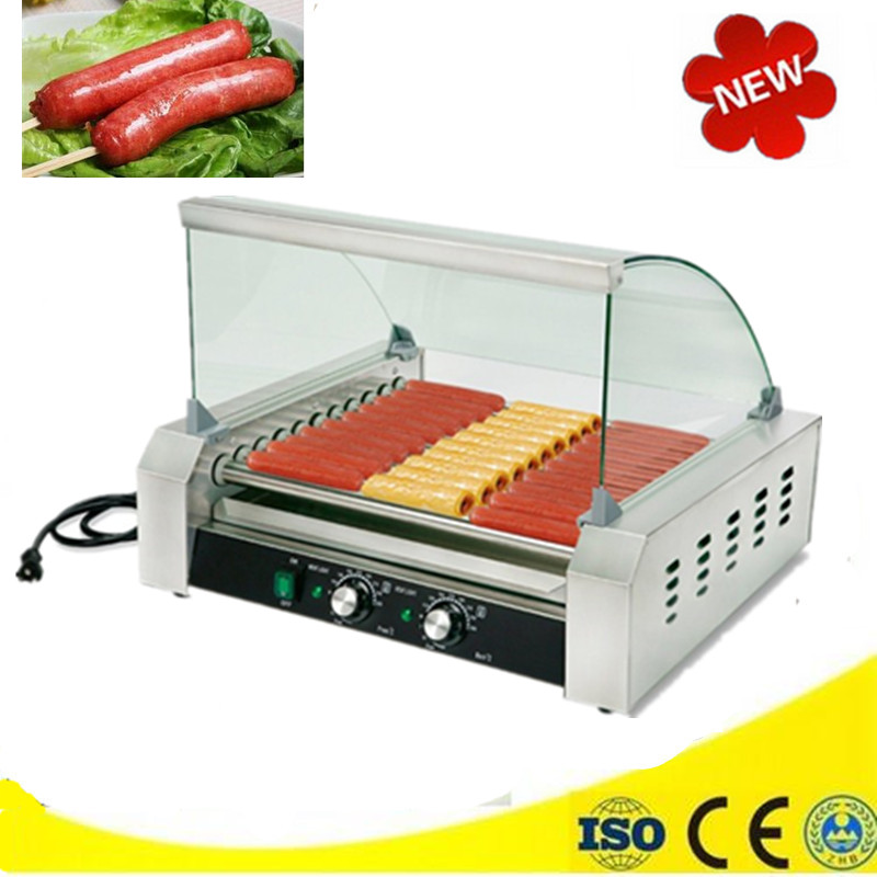 Mini Stainless Steel Hot Dog Grill Machine with 11 Rollers Temperature Control Automatic Grilling Roast Sausage Grill Maker hot dog grill machine roast sausage grill maker stainless steel hotdog maker cooker with 5 rollers