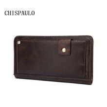 CHISPAULO 2017 Marke Kuh Männer Echte Lederne Beutel der Männer Vintage geldbörsen Beiläufige Handtasche Für Männer Handtasche Reißverschluss Herren Brieftaschen T699