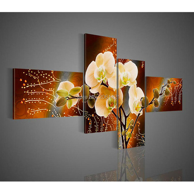 Modern Orchid Painting Yellow Brown Flower Canvas Oil Hand Painted Wall Pictures Home Decoration Pieces