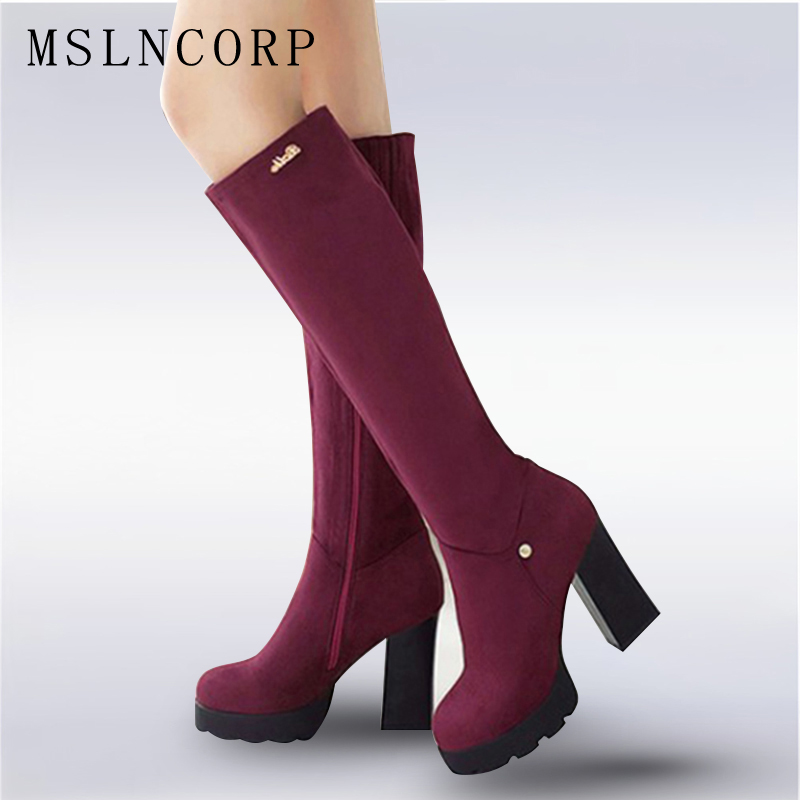 Plus Size 34-43 New Knee High Boots Autumn Winter Warm Women Boots high heel Lady Short Plush Stretch Fabric Fashion Boots Shoes plus size 34 43 autumn winter genuine leather women flower shoes lady high heel long boots embroidered over knee high snow boots