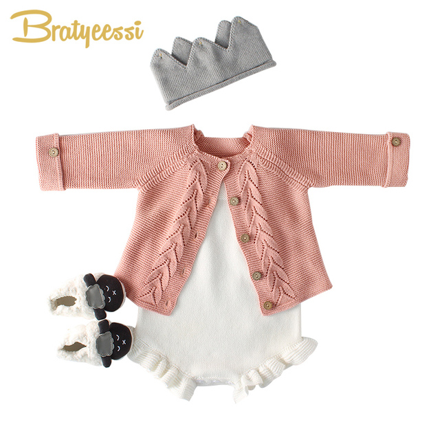 4d9e3336696 New Knitted Baby Romper for Girls Cotton Infant Jumpsuit Baby Boy Romper  White Spring Autumn Baby