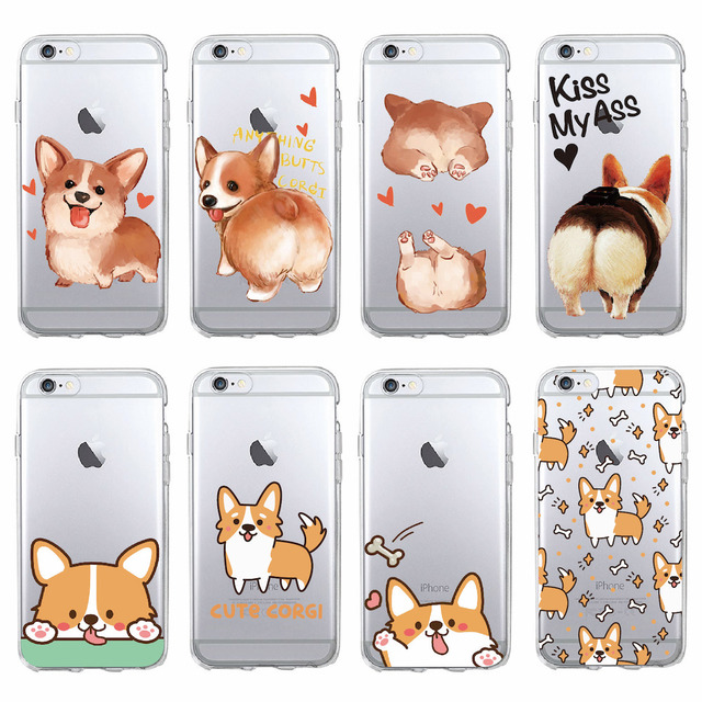 super popular 6445c 5f019 US $1.89 18% OFF Cute Corgi puppy butt soft clear phone case for Iphone X  XS iphone 8 8plus 7 7plus 6 6splus iphone5 case for Samsung S9 Galaxy-in ...