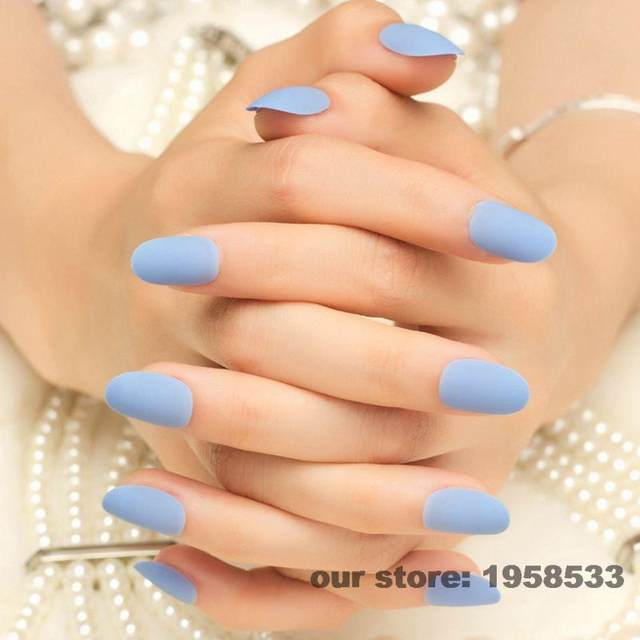 New Arrival 24pcs Matte Baby Blue False Nails Short Round Head Full Cover Fake Nail Tips With 1pc Sticker Z261