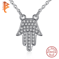 Authentic Brand 100 925 Sterling Silver Charm Necklace For Women White CZ Hamsa Hand Necklaces Pendants