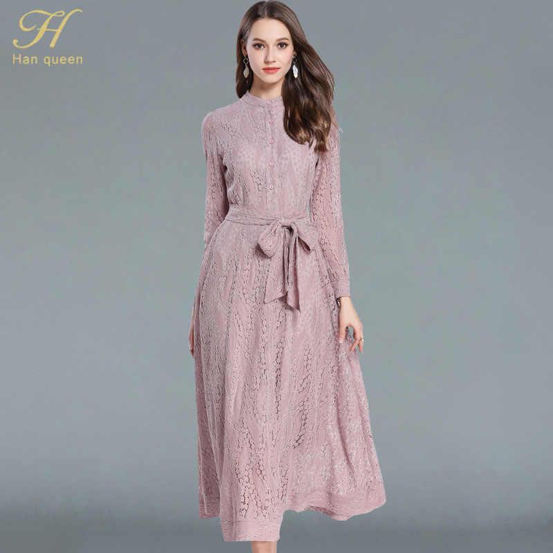 3f14d1511 H han queen/Новое Кружевное Платье макси с бантом, изящное модное платье с  круглым