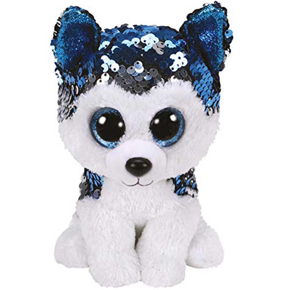"""Pyoopeo Ty блестки флиппаблики 6 """"15 см слякоть Хаски плюшевые обычный мягкий плюшевый щенок животное собака коллекция кукла игрушка"""