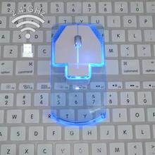 رقيقة جدا نمط شفاف 2.4 جيجا هرتز ماوس لاسلكي بصري أزياء LED الفئران الملونة مضيئة للكمبيوتر المحمول سطح المكتب
