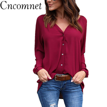 S-5XL Solid Color Cardigan Long Sleeve Chiffon V-neck Pleated Button Long Sleeve Loose Chiffon Shirt Women Tops цена