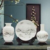 Фарфоровая ваза из трех частей украшение гостиной Цветочная композиция современный китайский украшения дома дисплей винный шкаф