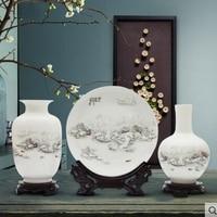 Porcelain vase three piece decoration living room flower arrangement modern Chinese home decoration wine cabinet display