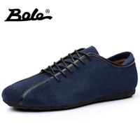 BOLE Spring Autumn Casual Leather Casual Men Rubber Non-slip Sneakers Fashion Lace Up Breathable Men Driving   Shoe   Flats Footwear