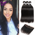 Ariel Peruvian Lace Frontal Closure With Bundles Straight Peruvian Virgin Hair With Frontal 4 Pcs Lot 8A Human Hair With Closure