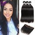 Ariel peruana encaje frontal clausura con bundles straight peruano de la virgen cabello Con Frontal 4 Unids Lot 8A Cabello Humano Con cierre