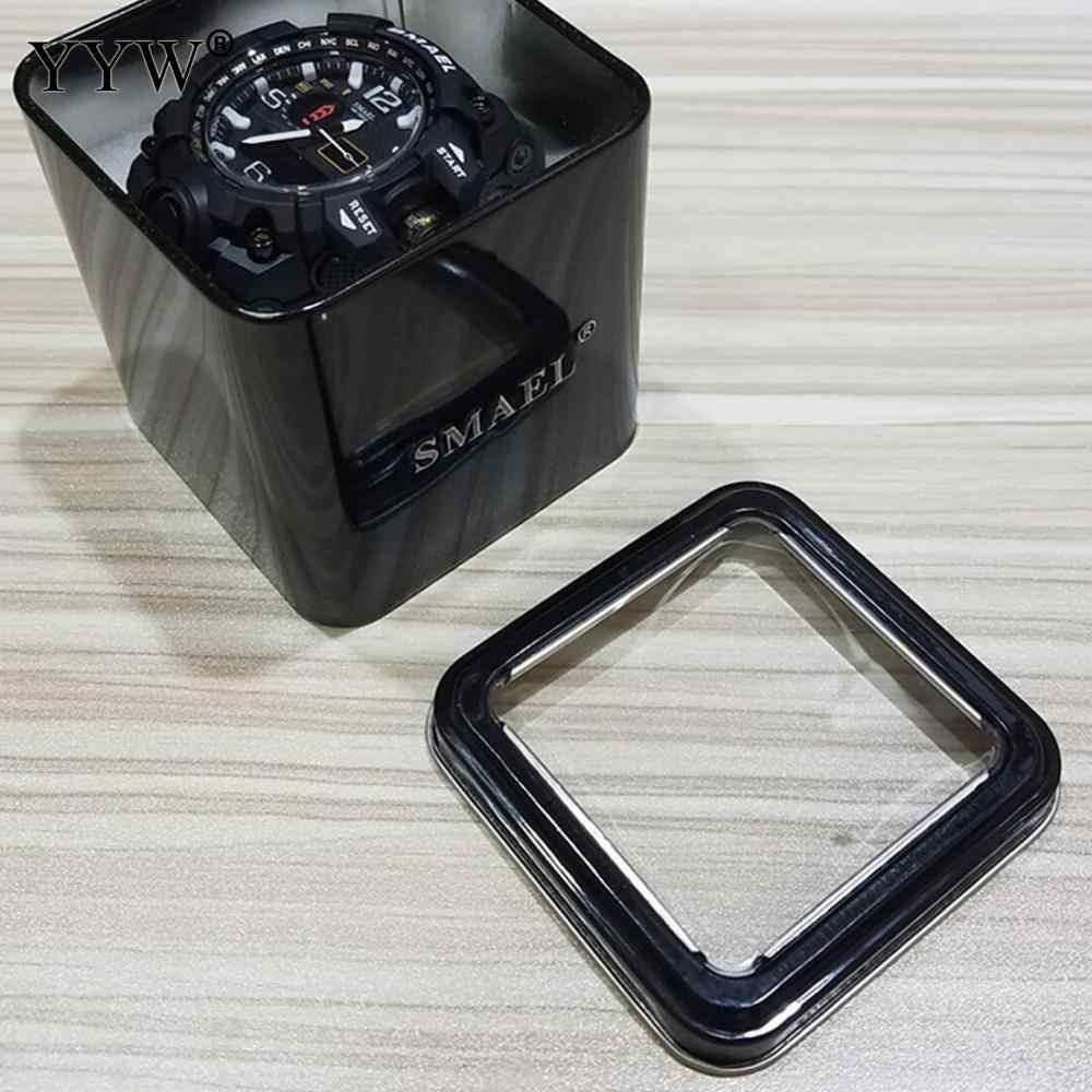 1 قطعة SMAEL هدية صندوق للساعات الرياضية العقلية صندوق الرجال اكسسوارات الساعة LED ساعة رقمية صندوق حماية Sqaure صندوق أسود لمشاهدة